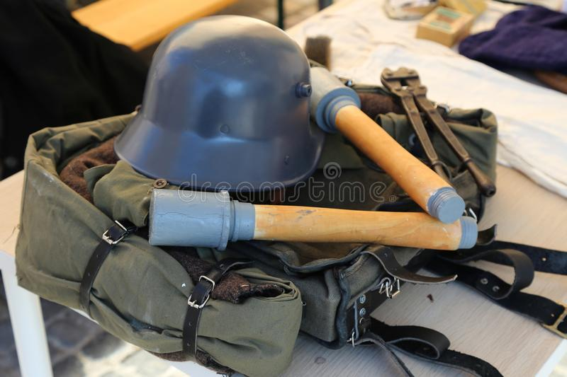 Military equipment from the First World War. Helmet, grenades and backpack stock photos