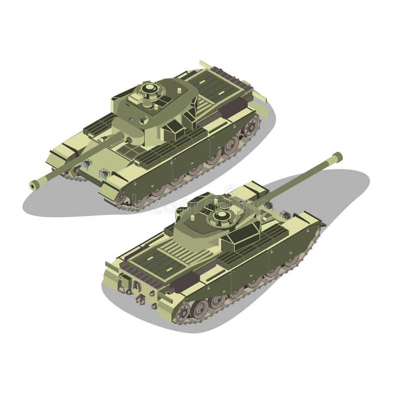 Military equipment illustration object. Flat 3d isometric high quality heavy tank object. In vector royalty free illustration