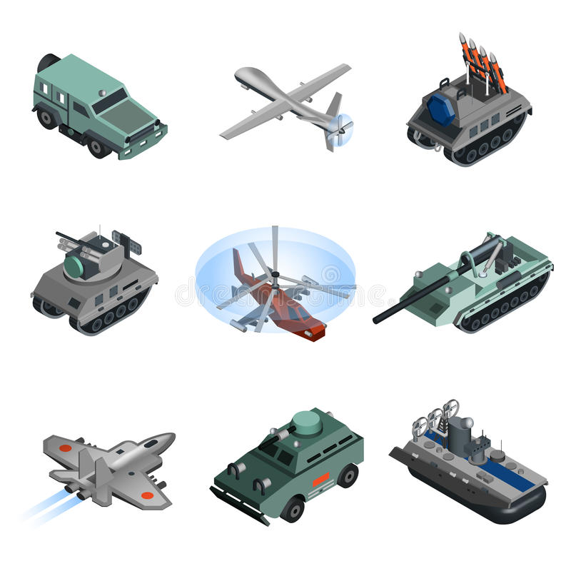 Military Equipment Isometric. Set with helicopter armoured vehicle truck isolated vector illustration royalty free illustration