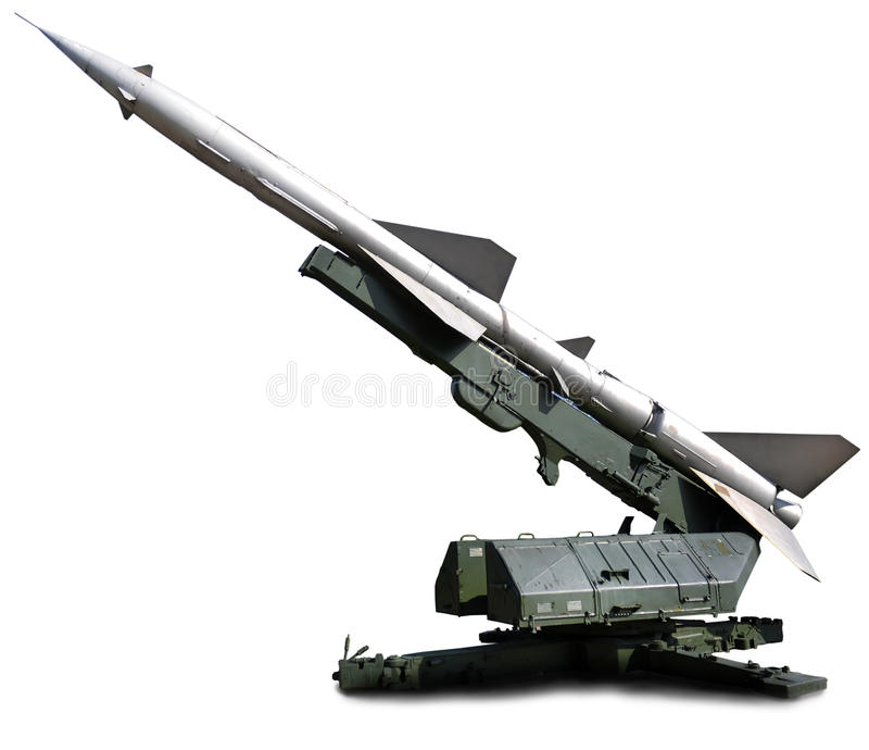 Military equipment. Launch a setup aimed at the sky. Defense missile royalty free stock photo
