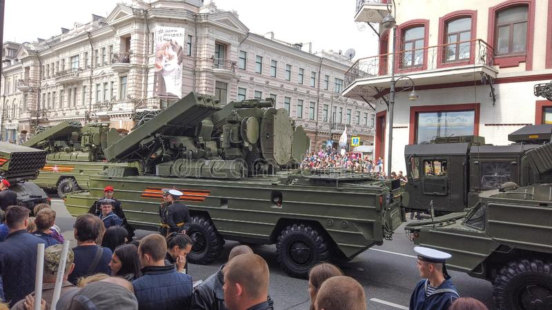 Military equipment and parade on the streets of Vladivostok royalty free stock photography