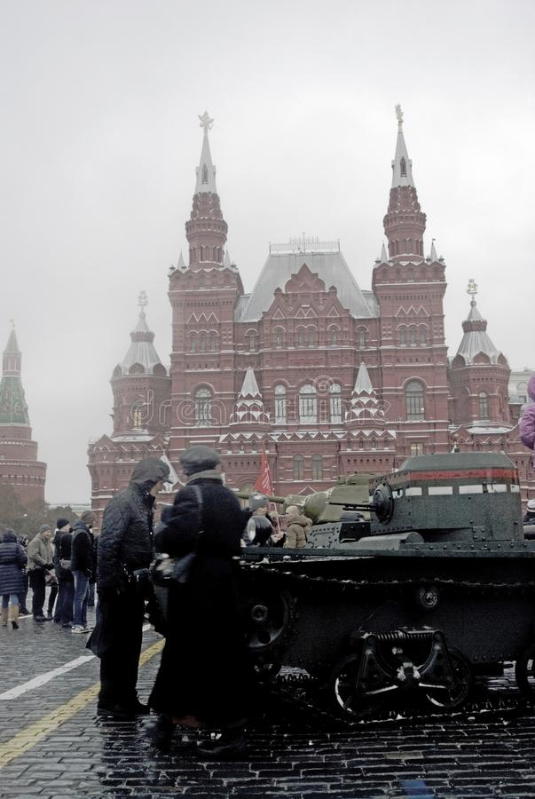Military equipment on the Red Square in Moscow stock photography