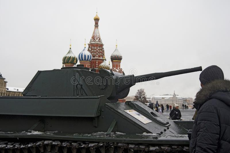 Military equipment on the Red Square in Moscow royalty free stock photo