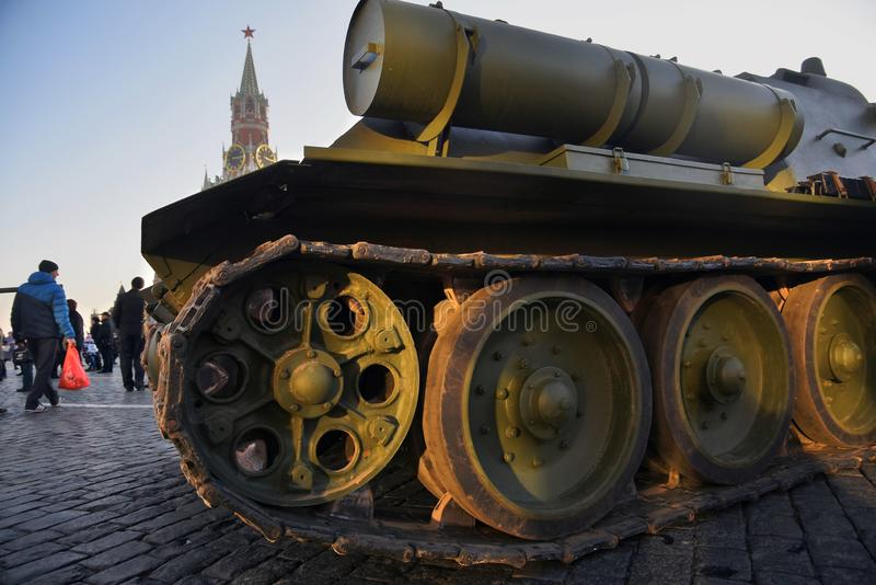 Military equipment of Second World War shown on the Red Square in Moscow. On occasion of anniversary of military parade held on the Red Square on November 07 stock photography