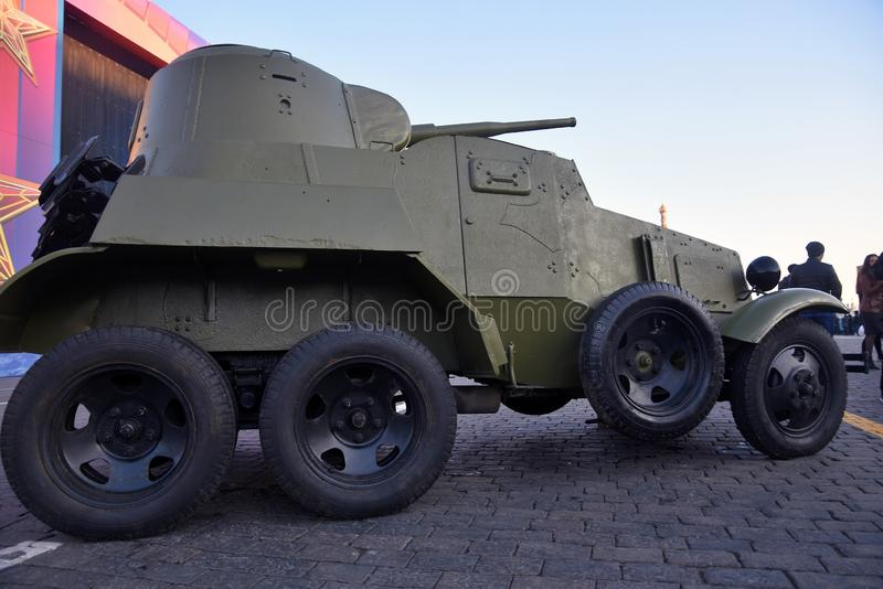Military equipment of Second World War shown on the Red Square in Moscow. On occasion of anniversary of military parade held on the Red Square on November 07 royalty free stock images