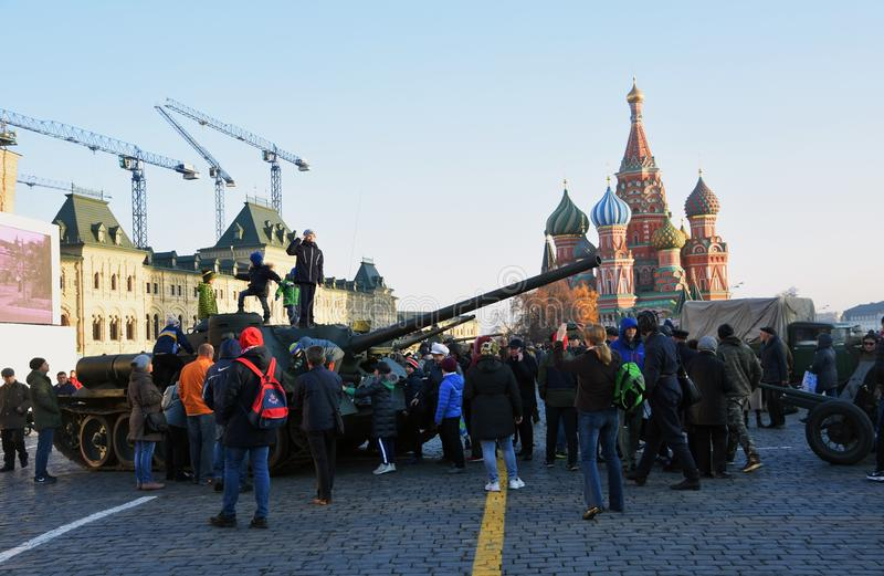 Military equipment of Second World War shown on the Red Square in Moscow. On occasion of anniversary of military parade held on the Red Square on November 07 royalty free stock photo