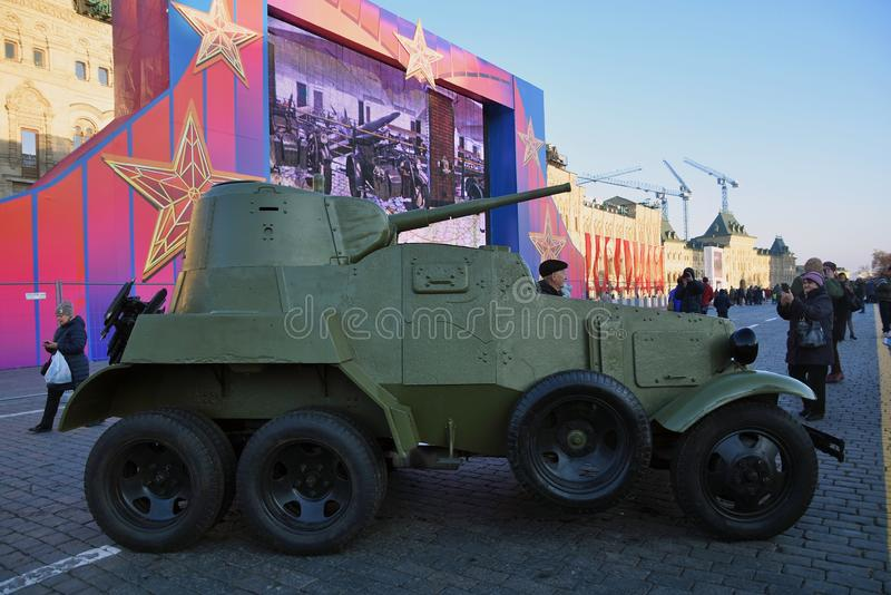 Military equipment of Second World War shown on the Red Square in Moscow. On occasion of anniversary of military parade held on the Red Square on November 07 royalty free stock photos