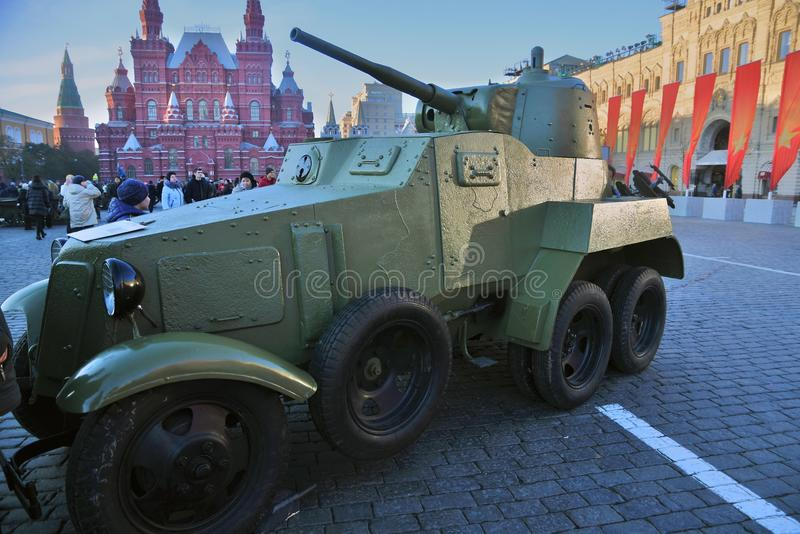 Military equipment of Second World War shown on the Red Square in Moscow. On occasion of anniversary of military parade held on the Red Square on November 07 stock image