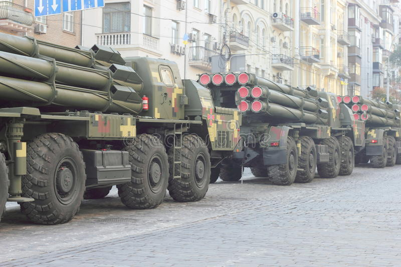 Military equipment Ukraine. The passage of heavy weaponry at the parade dedicated to the twenty-five anniversary of Ukraine's independence. sale Red Army. Kiev royalty free stock photos