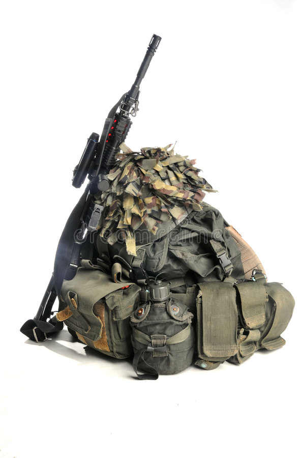 Military equipment and weapon. On white royalty free stock images