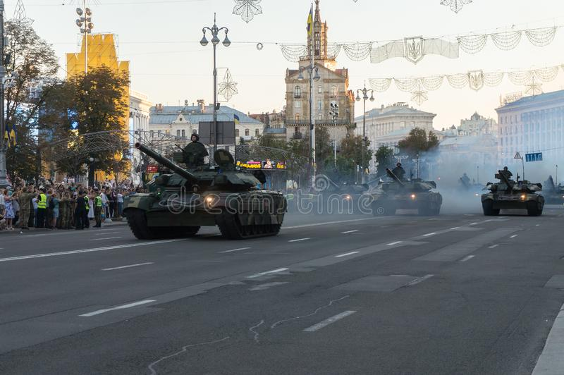 Military equipment and weapons at the rehearsal of the parade in honor of Independence Day, KYIV, UKRAINE stock image