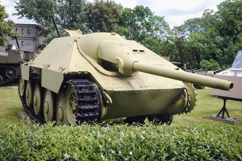 Military exhibition in Warsaw. Warsaw, Poland - June 19, 2006: German Jagdpanzer 38 light tank destroyer at open air exhibition in front of Museum of the Polish royalty free stock photo