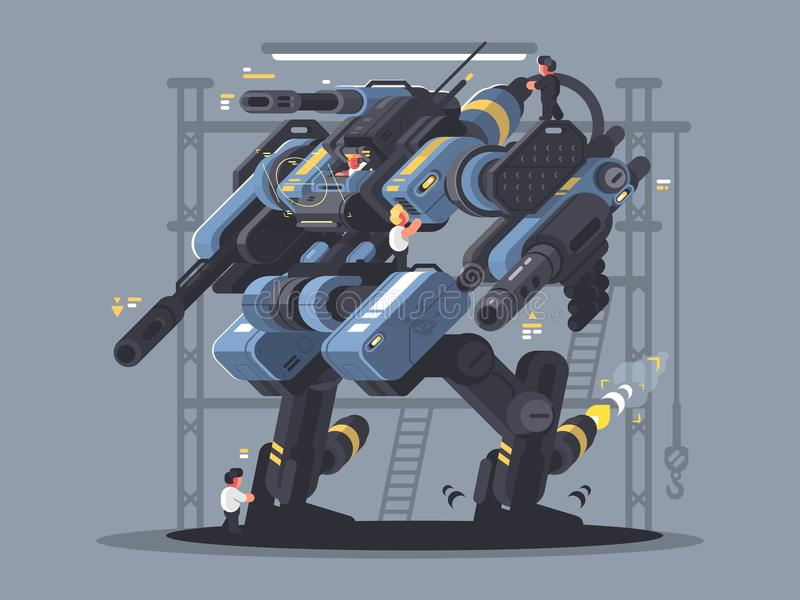 Military exoskeleton controlled by man. Modern technology of future. Vector illustration stock illustration