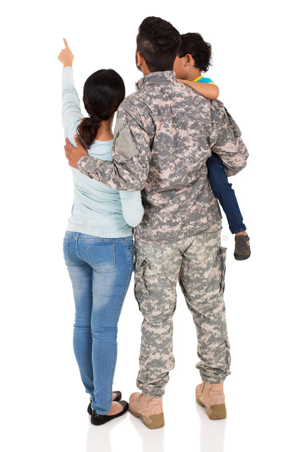 Military family pointing stock images