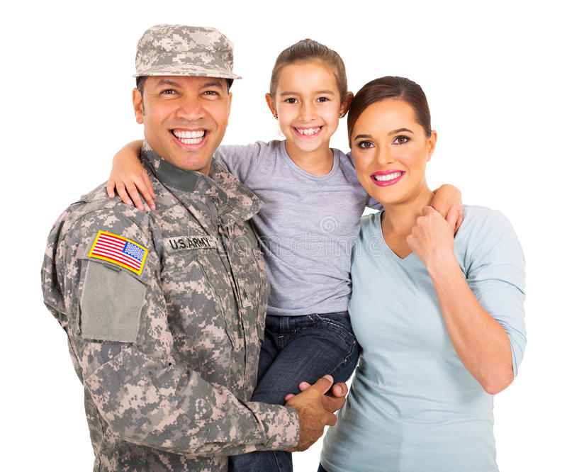 Military family of three. Happy young military family of three on white background