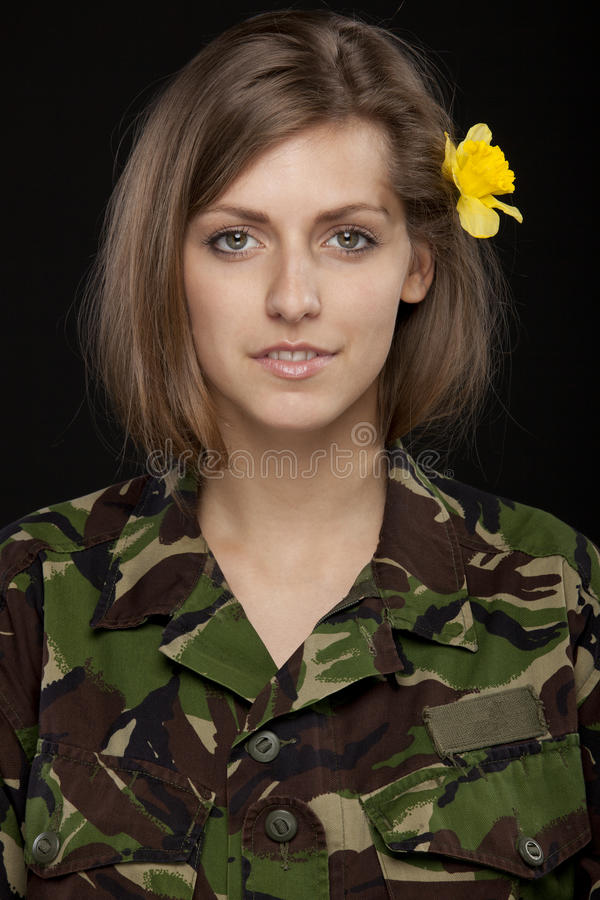 Download Military female stock photo. Image of calm, long, single - 20245320