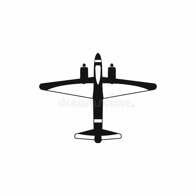 Military fighter jet icon, simple style royalty free illustration