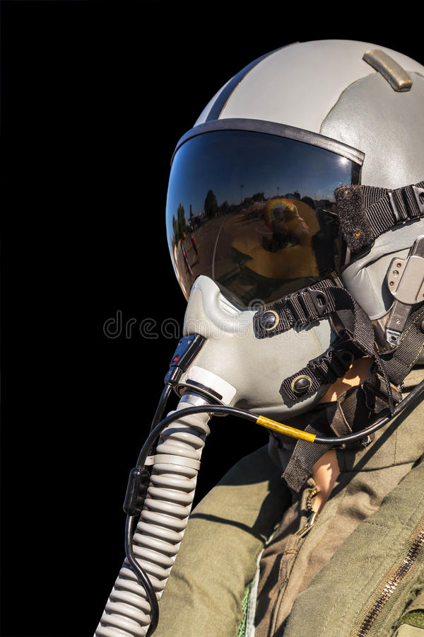 Military fighter pilot uniform. On black background royalty free stock photography