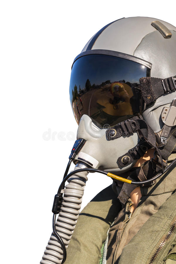 Military fighter pilot uniform. Isolated on white background royalty free stock image