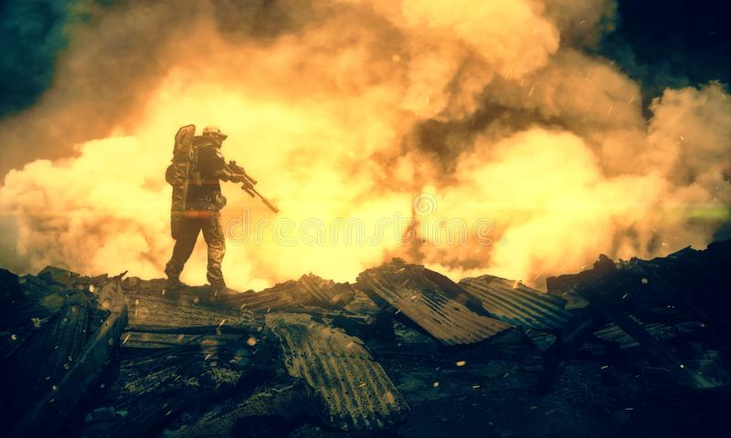 Military between fire and smoke in destroyed house stock photo