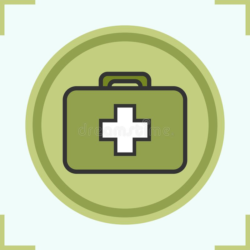 Military first aid kit color icon stock illustration