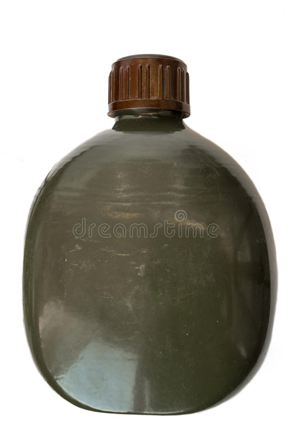 Military flask green army style. On white background isolated stock photos
