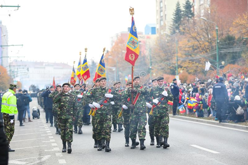 12/01/2018 - Military formations celebrating the Romanian National Day in Timisoara, Romania royalty free stock images