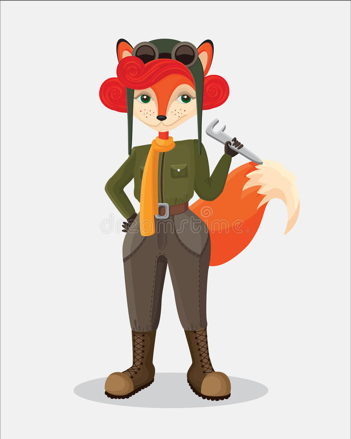Military fox-pilot that taking the wrench stock image