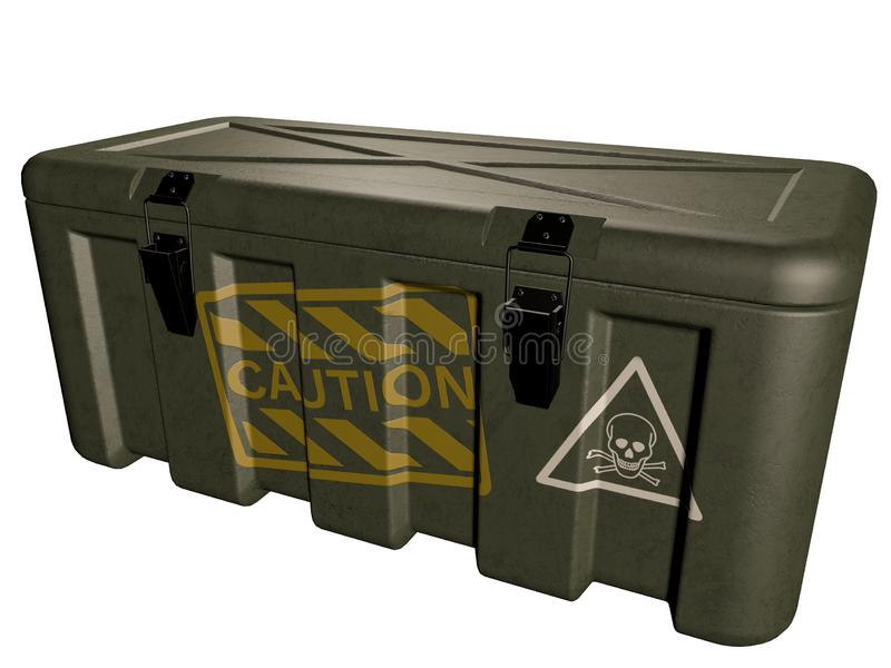 Military green box with explosive isolated on white. 3D illustration royalty free illustration