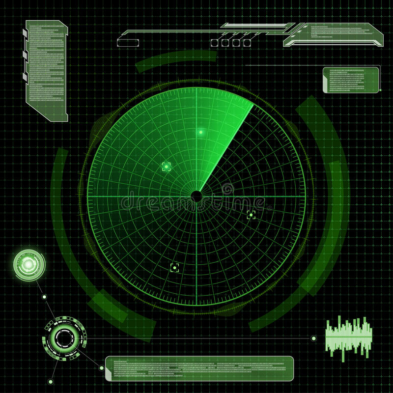 Military green radar. Screen with target. Futuristic HUD interface. Stock vector illustration. royalty free illustration