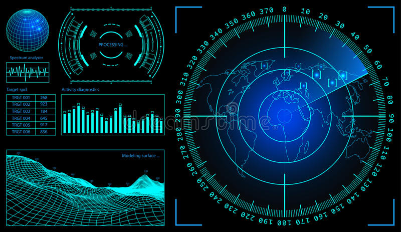 Military green radar. Wireframe landscape . Screen with target. Futuristic HUD interface. Stock vector illustration. Military green radar. Screen with target stock illustration