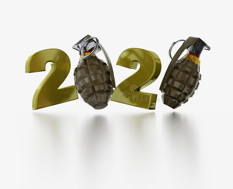 Military Hand Grenade 2020 Design. With a White Background stock illustration