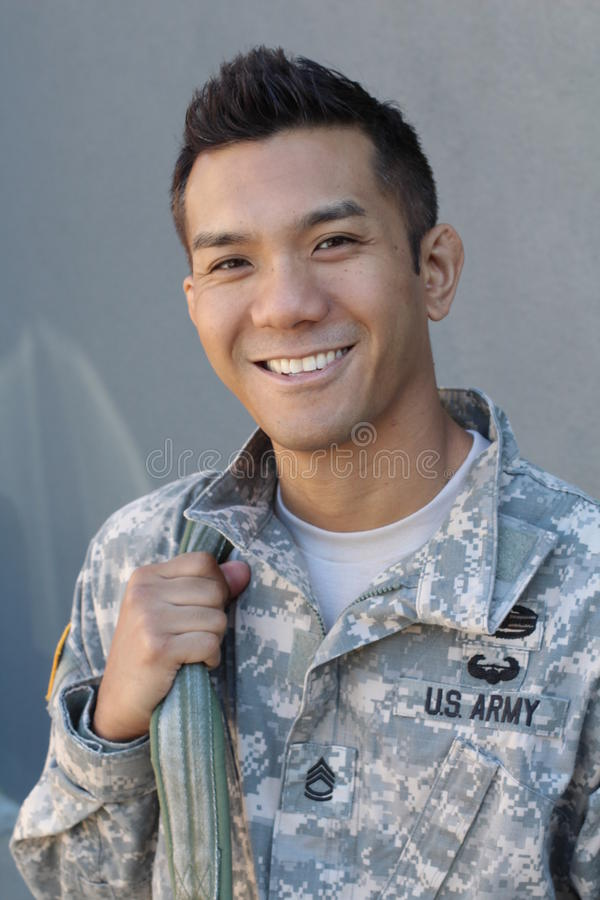 Military handsome Asian army man stock photos