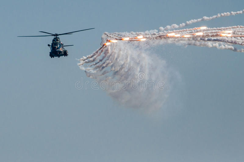 Military helicopter air show rockets