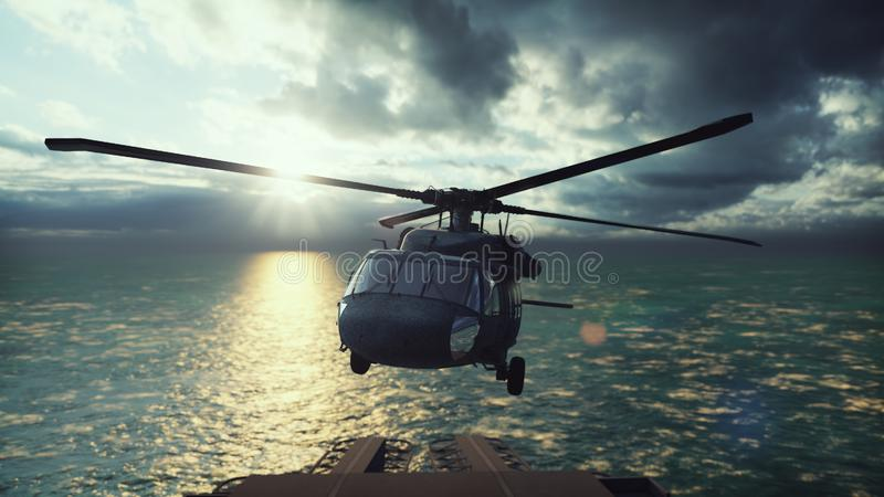 Military helicopter Blackhawk lands on an aircraft carrier in the endless blue ocean. 3D Rendering. Military helicopter Blackhawk lands on an aircraft carrier in stock illustration