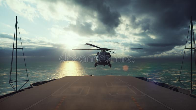 Military helicopter Blackhawk lands on an aircraft carrier in the endless blue ocean. 3D Rendering. Military helicopter Blackhawk lands on an aircraft carrier in royalty free illustration