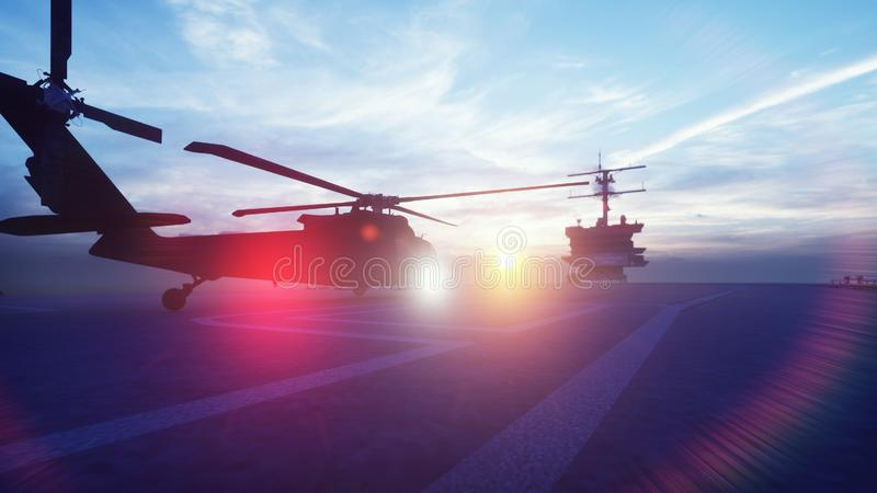 Military helicopter Blackhawk takes off from an aircraft carrier in the morning in the endless blue ocean. 3D Rendering. Military helicopter Blackhawk takes off vector illustration