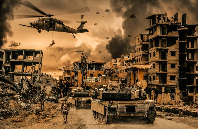 Military helicopters and forces and tanks in destroyed city stock image