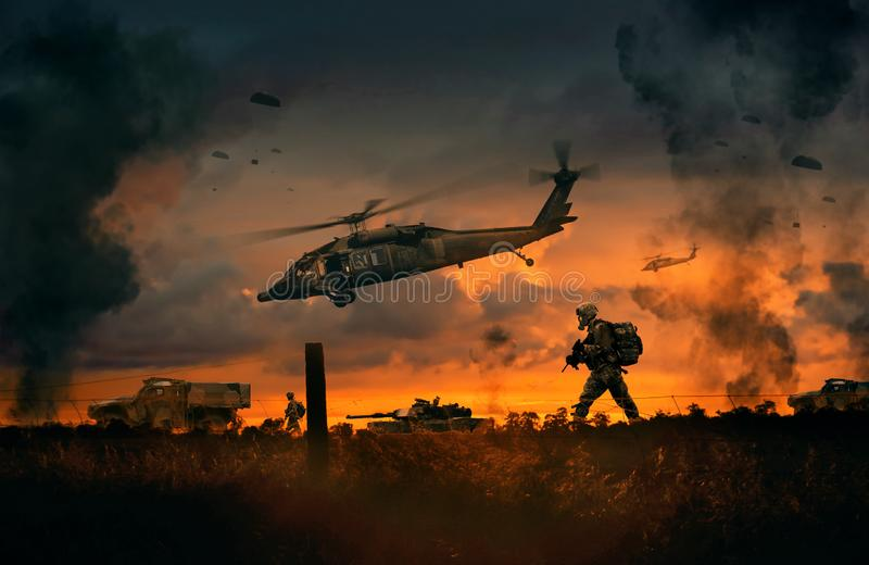 Military helicopter, forces and tanks in the farm vector illustration