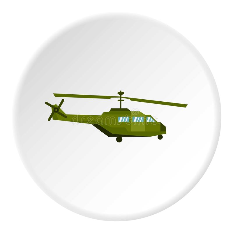 Military helicopter icon circle. Military helicopter icon in flat circle isolated on white background vector illustration for web royalty free illustration