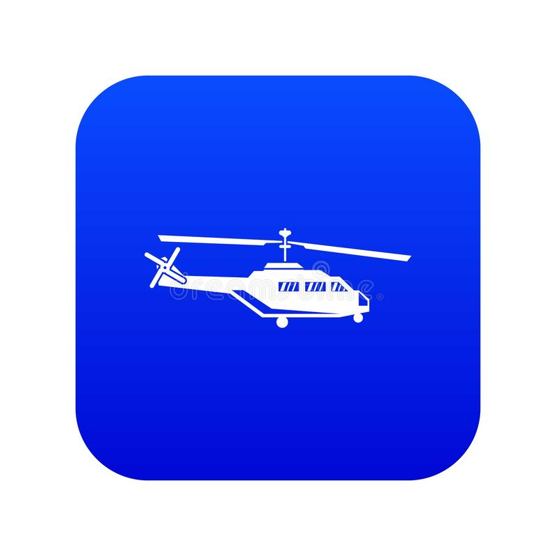 Military helicopter icon digital blue. For any design isolated on white vector illustration royalty free illustration