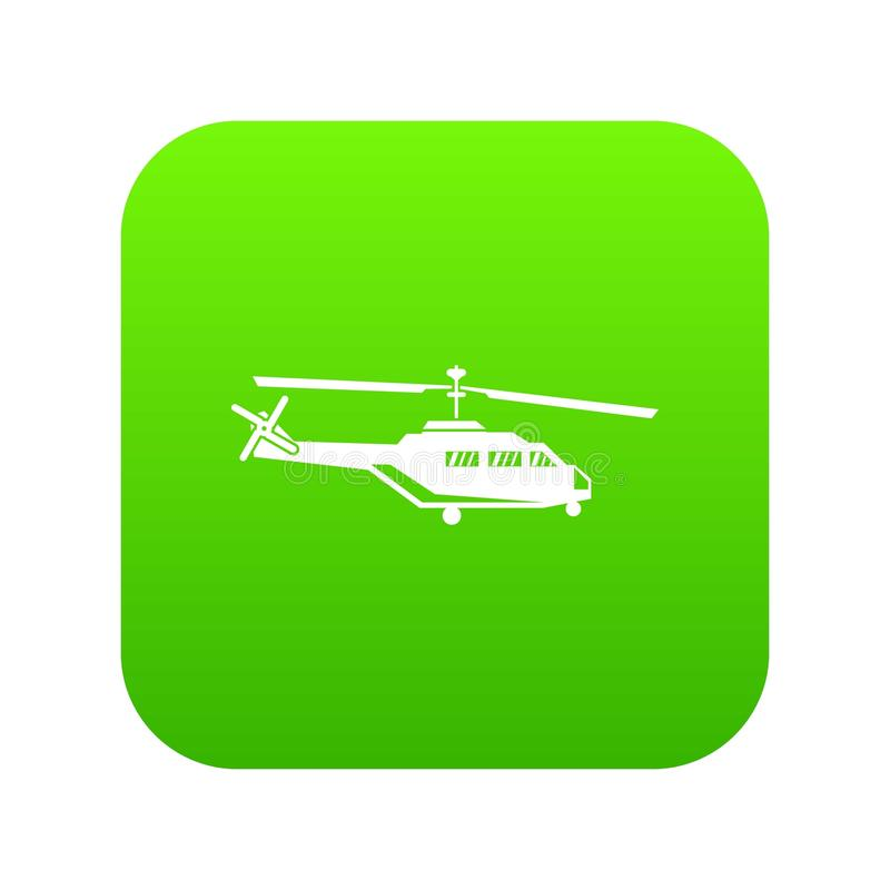 Military helicopter icon digital green. For any design isolated on white vector illustration vector illustration