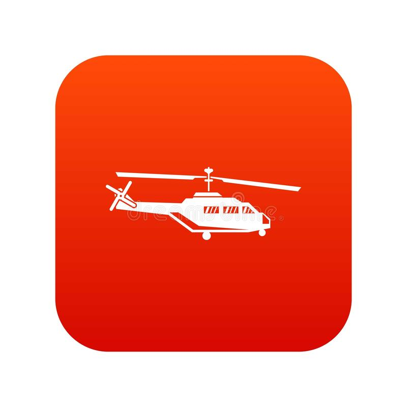 Military helicopter icon digital red. For any design isolated on white vector illustration royalty free illustration