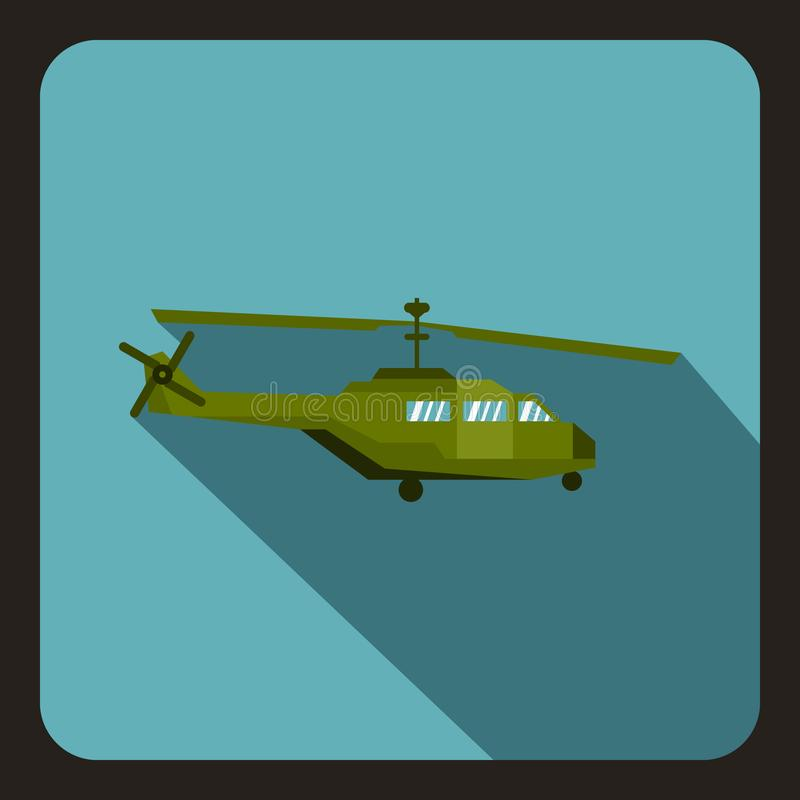 Military helicopter icon, flat style. Military helicopter icon in flat style with long shadow illustration stock illustration