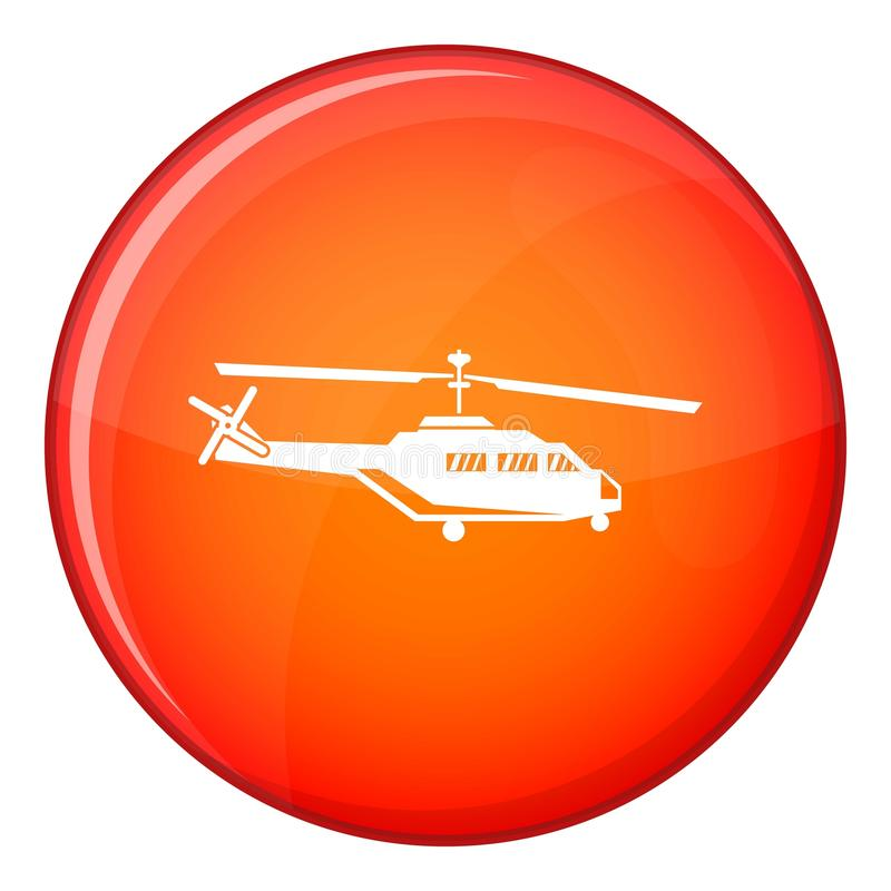 Military helicopter icon, flat style. Military helicopter icon in red circle isolated on white background vector illustration vector illustration