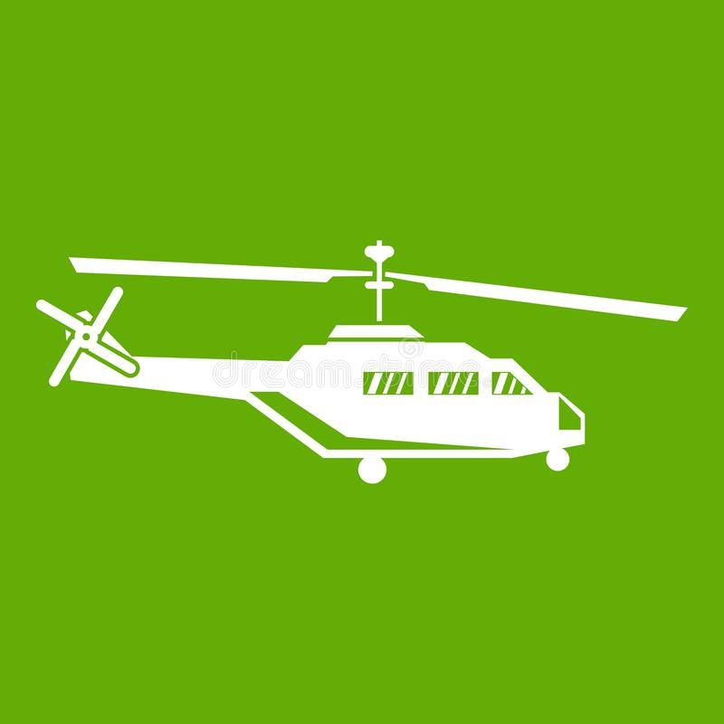 Military helicopter icon green. Military helicopter icon white isolated on green background. Vector illustration stock illustration