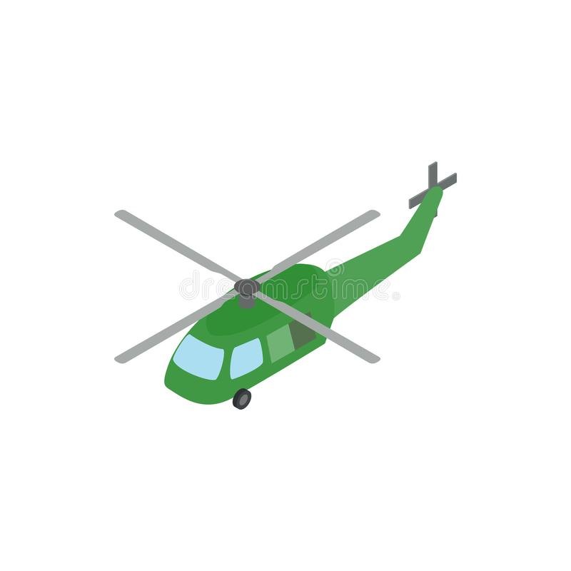 Military helicopter icon, isometric 3d style stock illustration