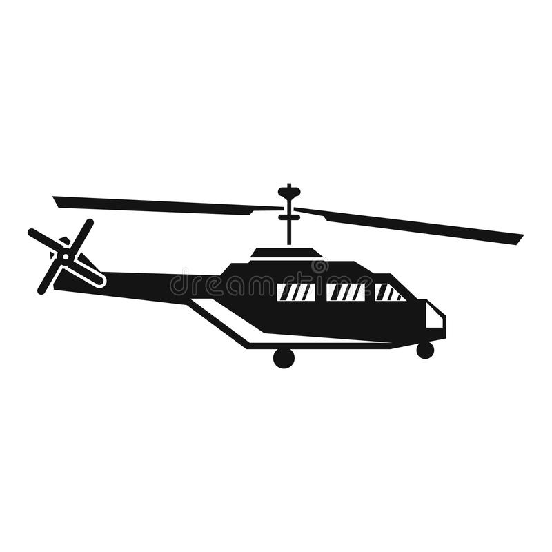 Military helicopter icon, simple style. Military helicopter icon in simple style isolated on white background vector illustration royalty free illustration