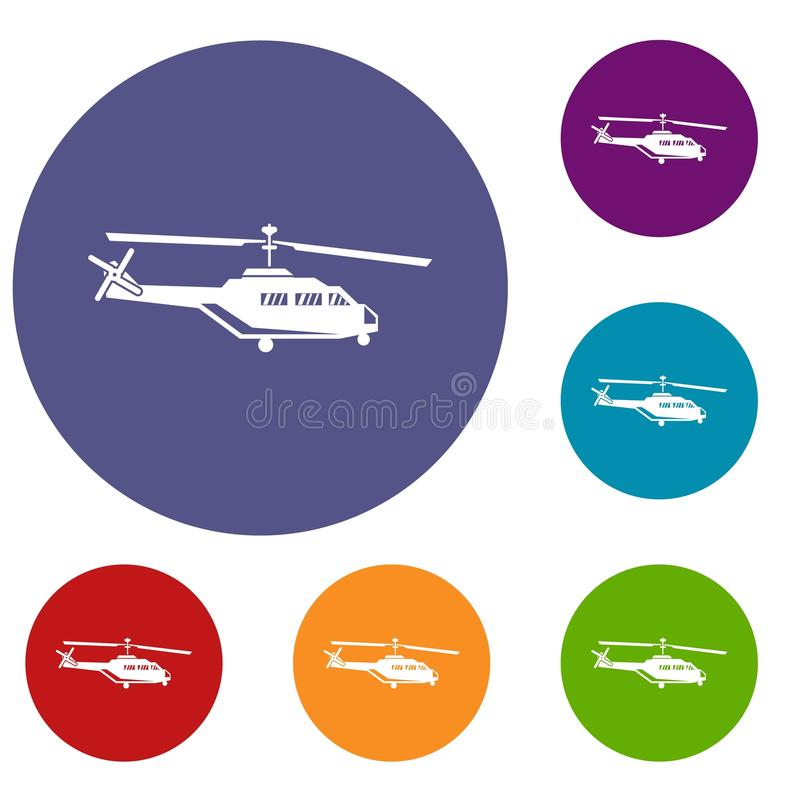 Military helicopter icons set. In flat circle reb, blue and green color for web vector illustration