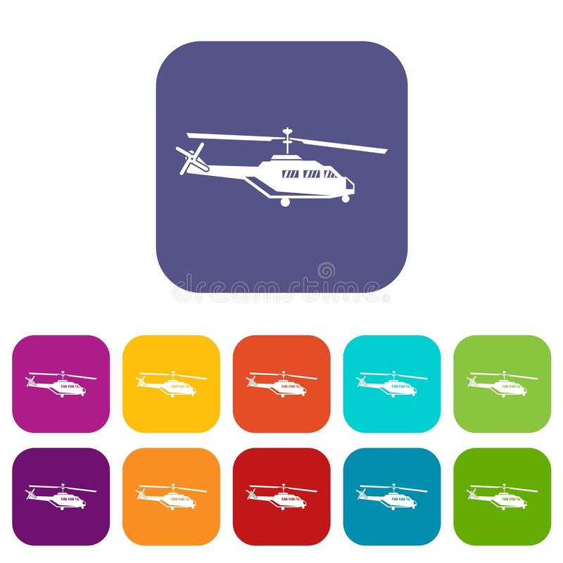Military helicopter icons set. Vector illustration in flat style in colors red, blue, green, and other stock illustration
